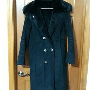 Calvin Klein faux suede fall coat with faux fur